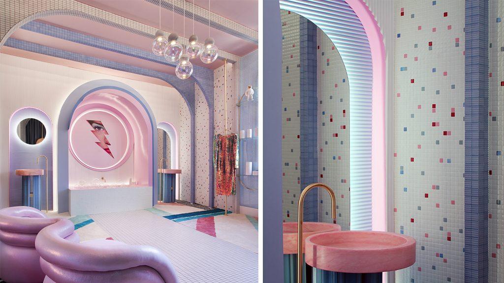 Wonder Galaxy, el vestidor del futuro, revestido con mosaico Hisbalit en Casa Decor 2019